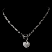 Antique Silver Clear Heart Necklace N 3843
