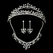 Swarovski Crystal Heart Bridal Jewelry & Tiara Set 7034