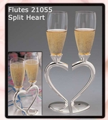 Joined Heart Wedding Toasting Champagne Flutes FL 21055