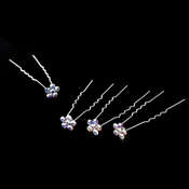 Silver and AB Floral Hair Accents Hair Pin 8 (Set of 12)