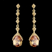 Gold & Topaz Vintage Teardrop Dangle Earrings E 948