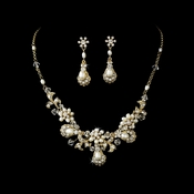 Ravishing Gold Clear Crystal & Freshwater Pearl Necklace & Earring Set 6291