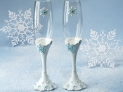 Snowflake Wedding Champagne Toasting Glasses FL 447