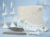 Snowflake Charm Wedding Guest Book, Pen, Toasting Flutes & Cake Server Set