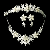 White Winter Snowflake Bridal Necklace Earring & Tiara Set 8100