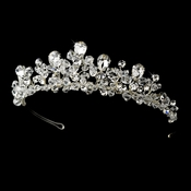 Fabulous Silver Clear Crystal Tiara Headpiece 9786