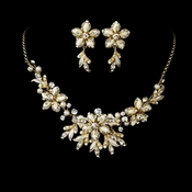 Stunning Gold Ivory Jewelry Set NE 8100