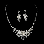 Silver Clear Swarovski Bridal Jewelry Set NE 8237