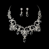 Couture Silver Clear Crystal Bridal Necklace & Earring Set 6062