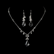 Gorgeous Silver Clear Swarovski Crystal Necklace & Earring Set 6871