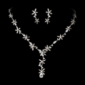 Antique Silver Clear Crytal Floral CZ Necklace 2621 Earring 5265