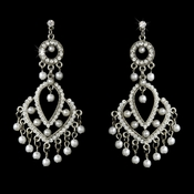 Vintage White Pearl Chandelier Earrings E 956