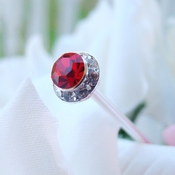 Red Pave Button Crystal Bouquet Jewels