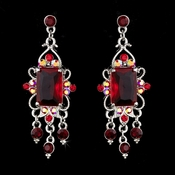 Vintage Silver & Red Crystal Drop Earrings E 936