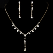Necklace Earring Set NE 7157 Gold Clear