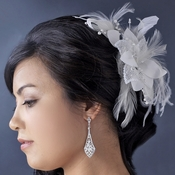 Feather Fascinator with Sequins & Bugle Beads Comb/Clip 7794
