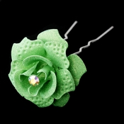 Lt Green Glitter Crystal Bridal Hair Pin 900