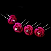 * Fuchsia Glitter Crystal Bridal Hair Pin 901 (Set of 12)