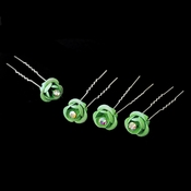 * Green Glitter Crystal Bridal Hair Pin 901 (Set of 12)