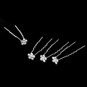 12 Glittering Silver Clear Rhinestone Flower Hair Pins 6339