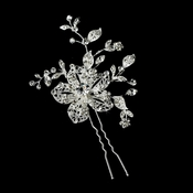 Lovely Silver Clear Rhinestone Flower Hair Pin 908