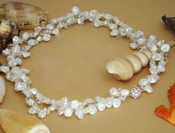 Two Strand Keshi Freshwater Pearl Necklace with Crystal Accents N 8195 **One Piece Left In Stock**
