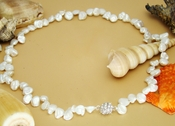 "Freshwater ""Keshi"" Pearl Necklace w/ Rhinestone Ball Magnetic Clasp N 8194 **Only 1 Piece Left**"