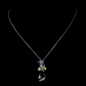 * Extraordinary Silver Clear & AB Swarovski Crystal Necklace 8126