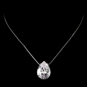 Stunning Large Teardrop Cubic Zirconium Pendent Necklace N 5006