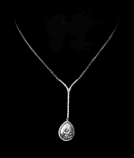 Antique Silver Clear CZ Crystal Teardrop Necklace N 2580