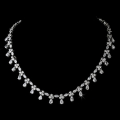 Silver Chain Drop Cubic Zirconia Necklace N 2346