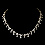 Gold Chain Drop Cubic Zirconia Necklace N 2346