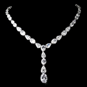 Glamorous Silver Clear Cubic Zirconia Crystal Necklace 9834