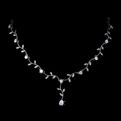 Elegant Silver Clear CZ Vine & Leaf Necklace 2017