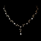 Elegant Gold Clear CZ Vine & Leaf Necklace 2017