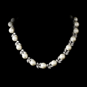 Eye-Catching Floral Vine-Like CZ  Necklace 2592 Silver Pearl