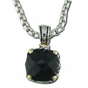 Silver with Black Stones Designer Necklace N 4115