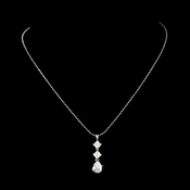 * Shimmer and Shine Silver Cubic Zirconia Chandelier Style Necklace N3618 (1 Left)