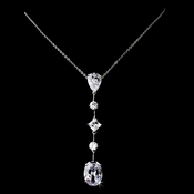 Antique Silver Clear CZ Necklace 2088