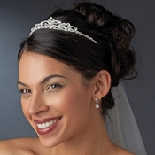 Regal Silver Clear Crystal Tiara Headpiece 4009