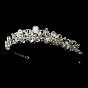 Fabulous Silver Clear Crystal Tiara Headpiece 9840