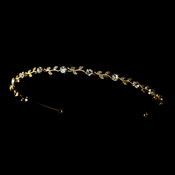 Gold Clear Crystal Floral Headband Tiara Headpiece 1002