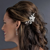 Floral Vine Crystal Bridal Comb 11145 with Brooch Converter
