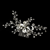 * Fabulous Silver Clear Crystal Bridal Comb 9823