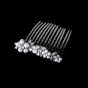 Lovely Silver Floral Hair Comb w/ Clear Rhinestones & White Pearls 8281
