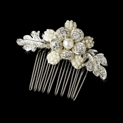 Delightful Silver Hair Comb w/ Clear Rhinestones & Ivory Pearls 9805