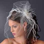 * Captivating Birdcage Veil Comb with Feathers & Austrian Crystals 1135