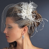* Feather Fascinator Flower with Crystal & Rhinestone Detailing & Russian Birdcage Blusher Veil White or Ivory 3219