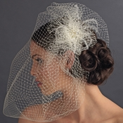 Russian Tulle & Feather Fascinator & Birdcage Veil on Comb in  White or  Ivory 8399
