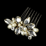 Dazzling Gold Clear Rhinestone & Freshwater Pearl Bridal Comb 8247
